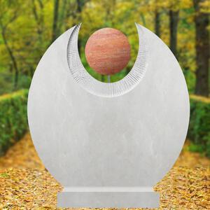 Martis Cephei Rundes Kalkstein Urnengrabmal mit Roter Travertin Kugel