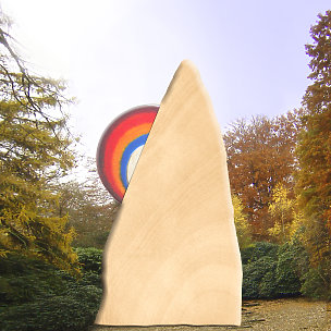 Regenbogenberg Grabstein mit Regenbogen