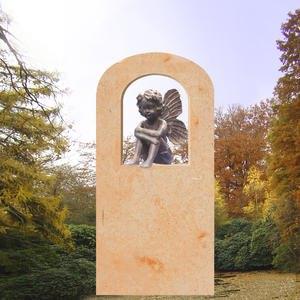 Mandalena Grabstein mit kleiner Bronze Elfe