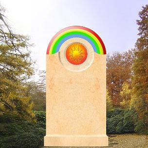 Arkus Kindergrabmal mit Glas Regenbogen