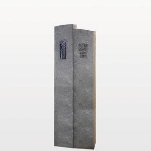 Anzio Schlanker Kalkstein Grabstein / Grau Fã¼r Ein Einzelgrab mit Lebensbaum Ornament in Bronze