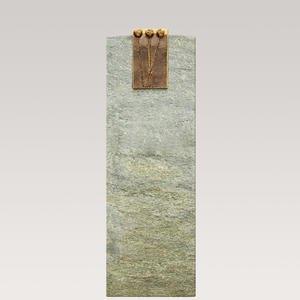 Schlichter Einzelgrab Grabstein aus Grãœnem Granit mit Bronze