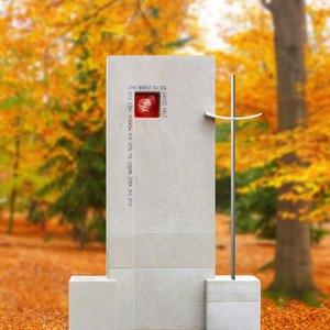 Montero Schã¶ner Doppelgrabstein mit Glas Rose Und Kreuz