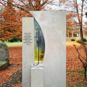Vetro Schöner Grabstein Naturstein Bronze & Glas