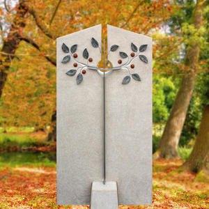 Schöner Grabstein vom Steinmetz mit Metall Deko