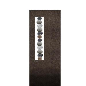 Albona Lapis Schwarzer Granit Doppelgrabstein mit Kieselsteinen