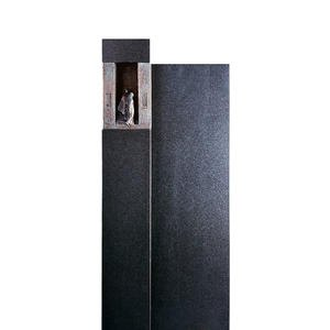 Le Sauvoir Schwarzer Granit Einzelgrabstein mit Bronze Symbol Mensch