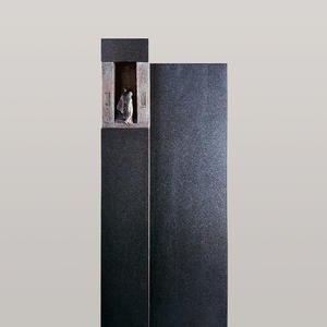 Le Sauvoir Schwarzer Granit Urnengrabstein mit Bronze Symbol Mensch