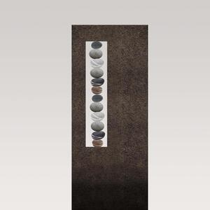 Albona Lapis Schwarzer Granit Urnengrabstein mit Kieselsteinen