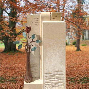 Poesia Urnen Grabstein Naturstein Bronze mit Rose