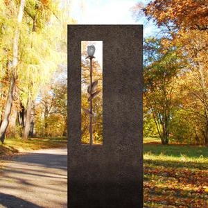 Albona Rosa Urnengrab Grabstein mit Rose aus Bronze aus Granit