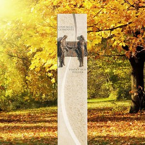 Ameta Urnengrab Stele in Kalkstein & Bronze Ornament - Mann Und Frau