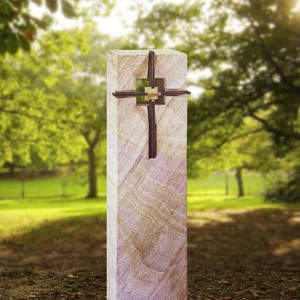 Corvey Urnengrabmal Stele mit Bronze Kreuz