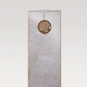 Raphael Vivere Urnengrabstein aus Granit Aurora mit Floraler Bronze Schrifttafel