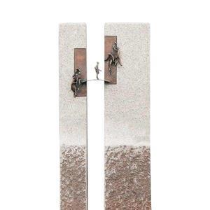 Bisegna Classico Urnengrabstein Geteilt mit Bronze Brücke & Mensch