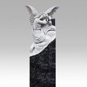 Lucia Urnengrabstein Granit Schwarz Weiss Trauernder Engel