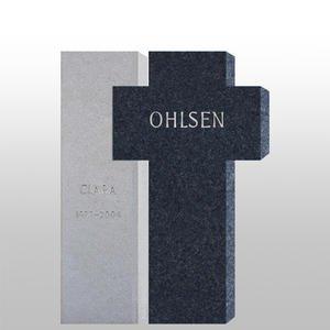Frantoro Urnengrabstein Hell/dunkel mit Kreuz Motiv