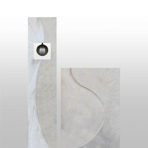 Corona Urnengrabstein Kalkstein Zweiteilig Edelstahl Kugel