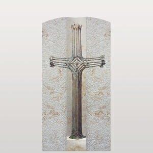 Crociato Facile Urnengrabstein mit Bronze Grabkreuz Modern