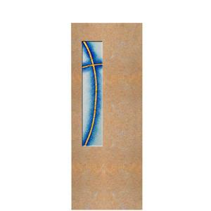 Albona Crucis Urnengrabstein mit Glaseinsatz Kreuz-motiv in Kalkstein