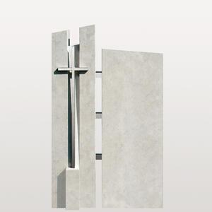 Artema Urnengrabstein Modern mit Metall Kreuz