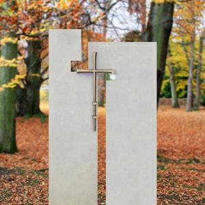 Laterano Urnengrabstein Naturstein zweiteilig Edelstahl Kreuz