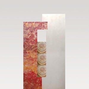 Rosso Legno Urnengrabstein Zweifarbig Rot / Weiß mit Holz
