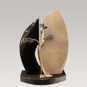 Lavedan Urnengrabstein Zweiteilig aus Granit & Quarzit mit Bronze Lebensbaum