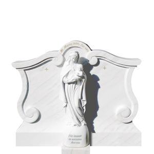Madonna Alba Weisser Marmorgrabstein mit Madonna Skulptur
