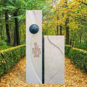 Glorioso Wetterfester Doppelgrabstein Zweiteilig vom Bildhauer