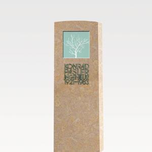 Lumina Ligno Zeitloser Grabstein mit Glas & Kalkstein