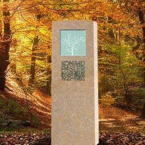 Lumina Ligno Zeitloser Kindergrab Grabstein mit Glas & Kalkstein