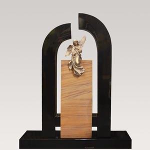 Maria Regina Zweifarbiger Familien Grabstein aus Granit mit Engel Bronzefigur