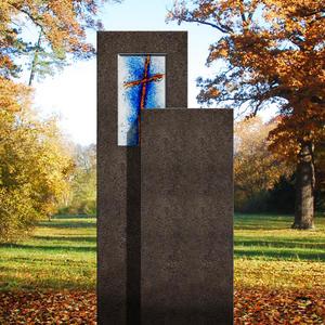 Amancio Crucis Zweigeteiler Granit Doppel Grabstein mit Glas Symbol Kreuz