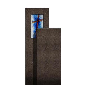 Amancio Crucis Zweigeteiler Granit Einzel Grabstein mit Glas Symbol Kreuz