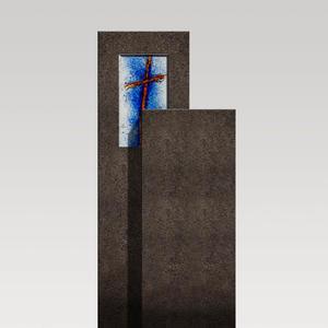 Amancio Crucis Zweigeteiler Granit Urnen Grabstein mit Glas Symbol Kreuz