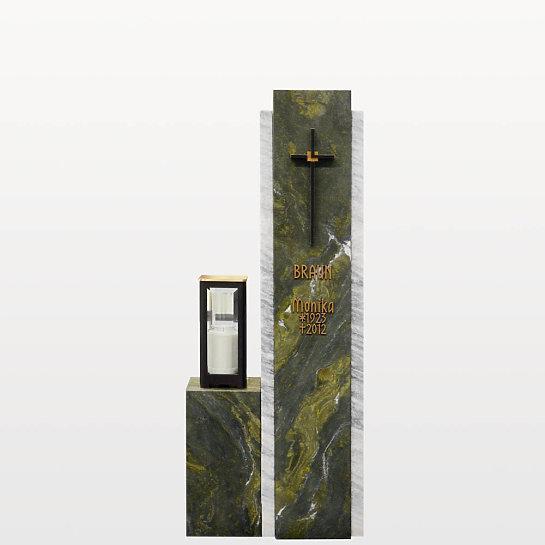 Cupito – Zweiteilige Grabstein Stele mit grünem & weißem Marmor & Bronze Grablicht / Einzelgrab