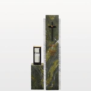 Cupito Zweiteilige Grabstein Stele mit grünem & weißem Marmor & Bronze Grablicht / Einzelgrab