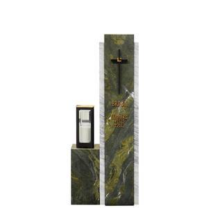 Cupito Zweiteilige Grabstein Stele mit grünem & weißem Marmor & Bronze Grablicht / Urnengrab