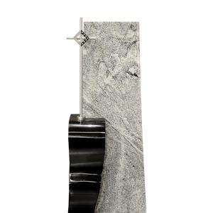 Chevallerie Zweiteiliger Doppelgrabstein aus Granit mit Edelstahl Kreuz