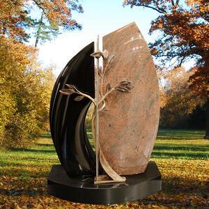 Vignerot Zweiteiliger Familiengrabstein aus Granit mit Bronze Lebensbaum