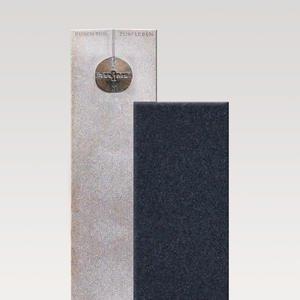 Raphael Fiore Zweiteiliger Granit Einzelgrabstein in Hell & Dunkel mit Glaskugel