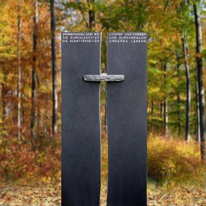 Menars Zweiteiliger Granit Grabstein schwarz mit Kreuz