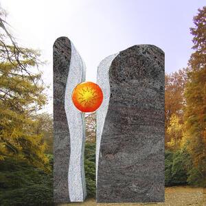 Signum Zweiteiliger Grabstein mit Sonnenornament