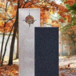 Raphael Dio Zweiteiliger Granit Urnengrabstein in Hell & Dunkel mit Bronze & Kreuz