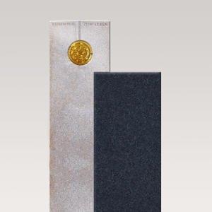 Raphael Ambra Zweiteiliger Granit Urnengrabstein in Hell & Dunkel mit Glasornament