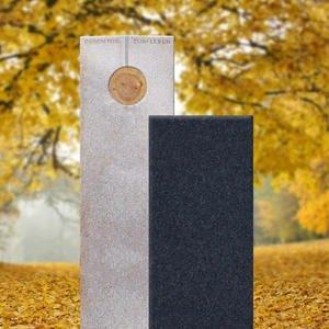 Raphael Albero Zweiteiliger Granit Urnengrabstein in Hell & Dunkel mit Holzornament