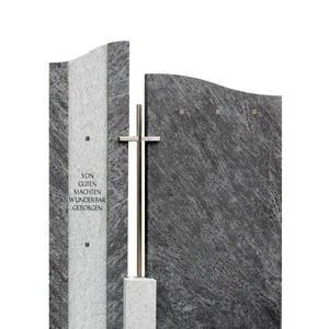 Bonifacio Zweiteiliger Naturgrabstein mit Kreuz