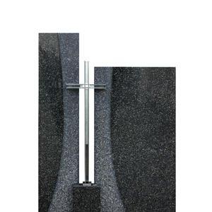 Solem Zweiteiliges Grabmal Granit Schwarz mit Kreuz