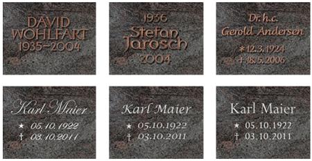 Beispiele von Grabsteinbeschriftungen
